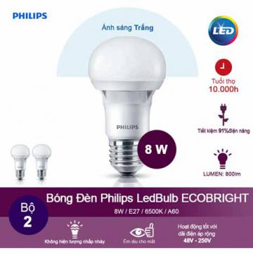 Đèn LED Bulb Philips Ecobright 8-100W E27 3000K A60