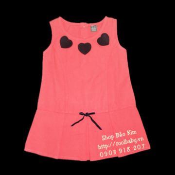 Đầm 3 trái tim màu carot cho bé gái