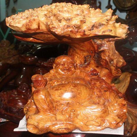 Tượng Phật Di Lặc tán tùng gỗ Hương nguyên khối