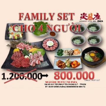 Family set cho 4 người tại nhà hàng nướng Enza