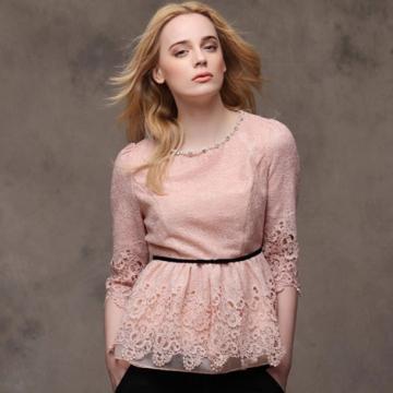 Áo ren hồng RuBy cổ tròn