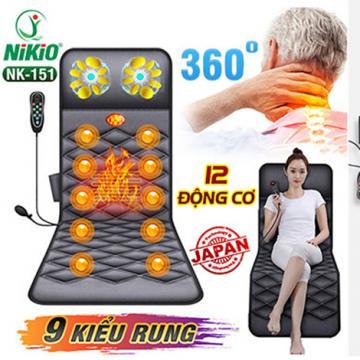 Nệm massage toàn thân hồng ngoại có gối massage cổ Nikio NK-151