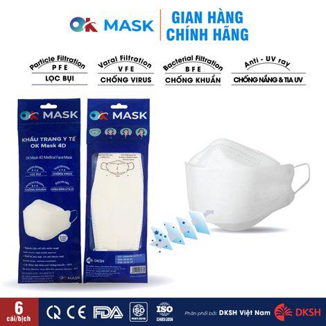 Khẩu trang y tế cao cấp OK MASK 4D Nam Anh, bịch 6 cái