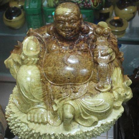 Tượng Phật Di Lặc gỗ Nu Hương nguyên khối