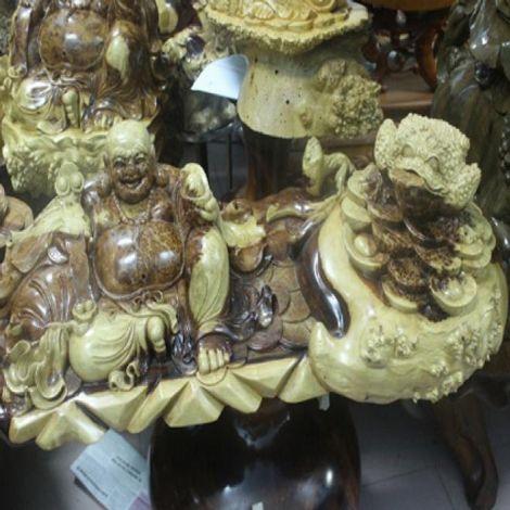 Tượng Phật Di Lặc và Thiềm Thừ gỗ Nu Hương
