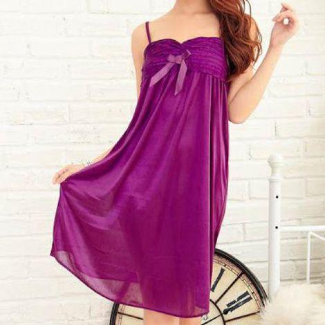 Váy ngủ đính nơ xếp ly ngực