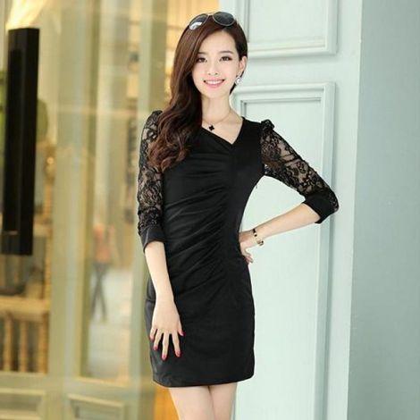 Đầm thun ôm phối ren thời trang DW056