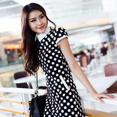 Váy suông họa tiết chấm bi thanh lịch DW057