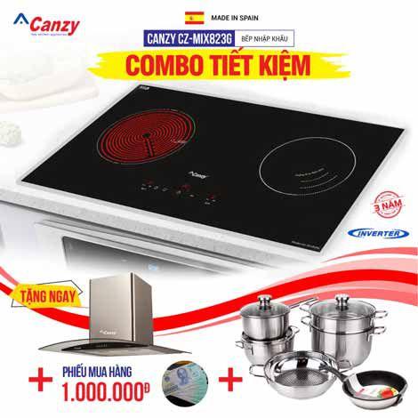 Bếp từ đôi hồng ngoại cảm ứng Canzy CZ-MIX823G