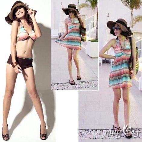 Bikini 3 mảnh dạng váy sọc ngang