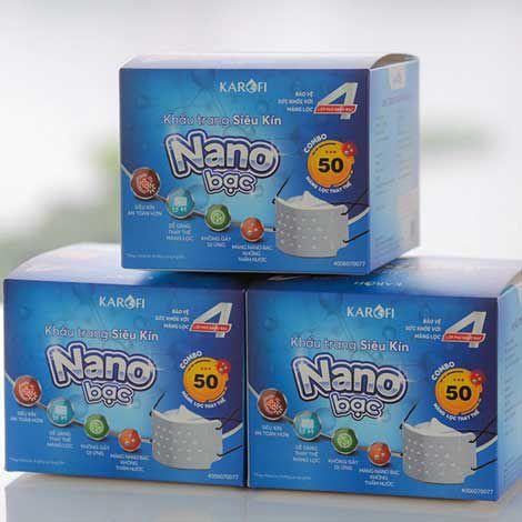 Khẩu trang siêu kín kháng khuẩn 4 lớp NANO bạc KAROFI