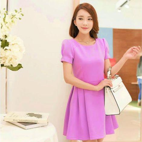 Đầm xòe Peplum Pink