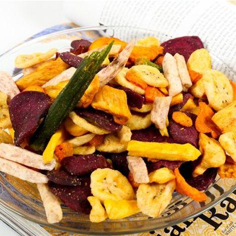 Hoa quả sấy thập cẩm thơm giòn bán tại Công ty TNHH Cộng Đồng Xanh - CHỢ  CUỐI TUẦN MOBILE - Ẩm thực mọi miền - rau củ quả sấy khô, chuối