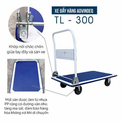 Xe đẩy hàng 4 bánh sàn thép ADVINDEQ TL-300