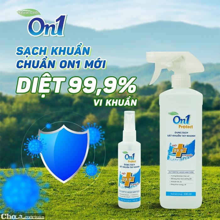Nước rửa tay sát khuẩn nhanh khô ON1, chai xịt 500ml