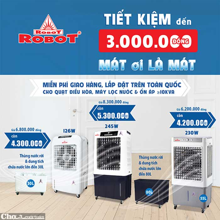Tiết kiệm đến 3 triệu khi mua quạt điều hòa Robot