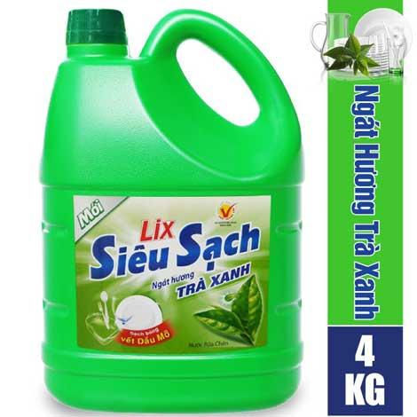 Nước rửa chén Lix trà xanh siêu sạch 4Kg khuyến mãi 55.000đ