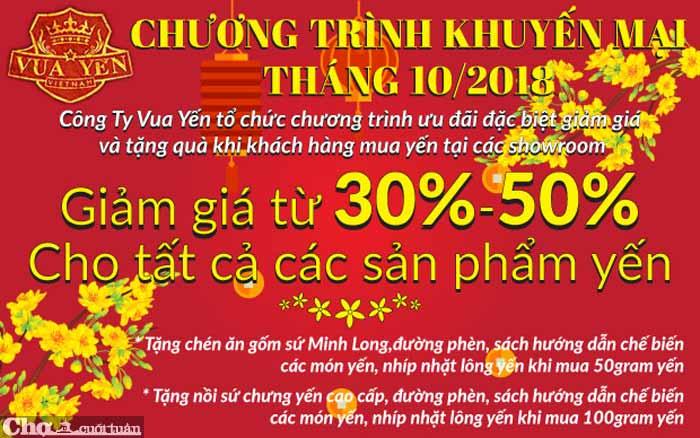 Yến sào Khánh Hòa ưu đãi lớn trong tháng 10/2019