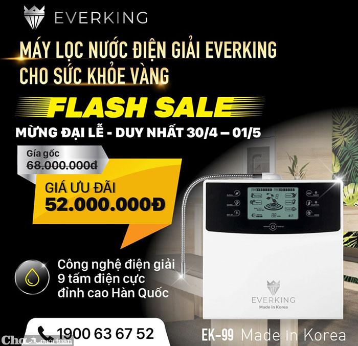 Máy lọc nước điện giải Everking EK-99 - 100% Hàn Quốc, 9 tấm điện cực