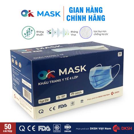 Khẩu trang y tế kháng khuẩn 4 lớp OK MASK Nam Anh, hộp 50 cái